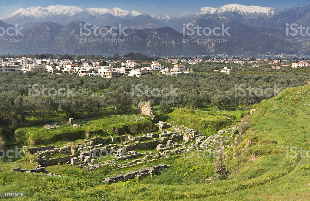 Sparta city in Greece stock photo