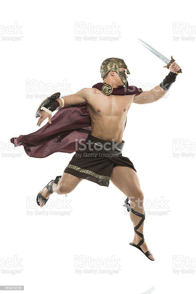 Sparta warrior in action against white royalty-free stock photo