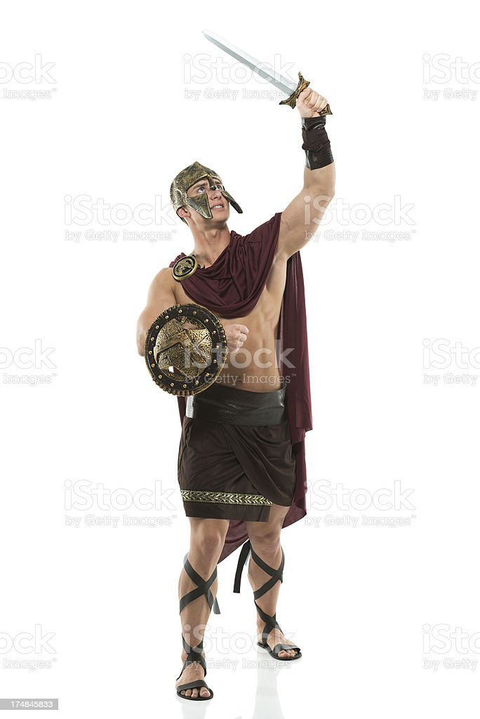 Spartan in action royalty-free stock photo