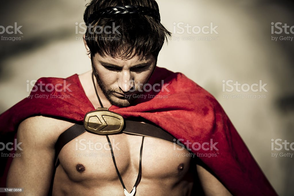 spartan looking down royalty-free stock photo