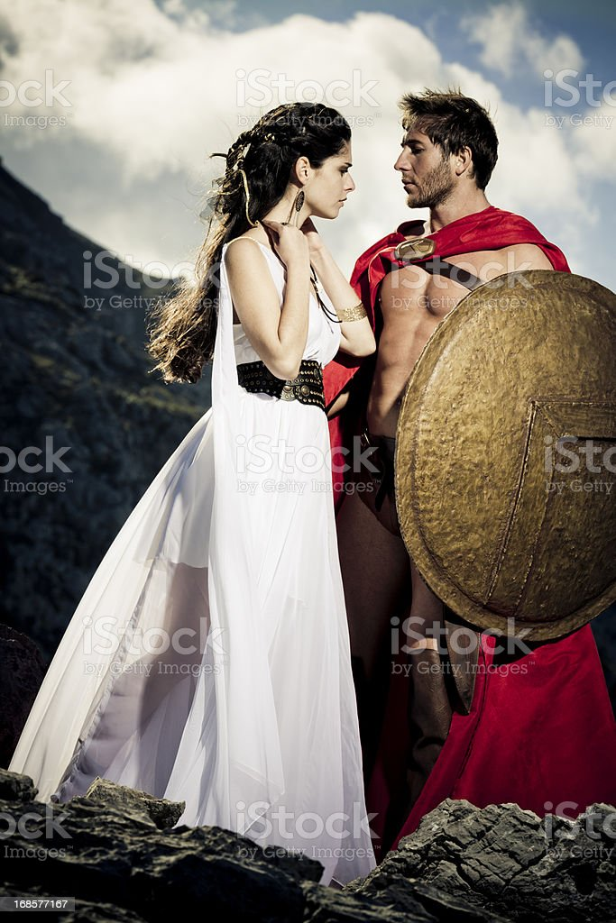 spartan queen taking leave of her man stock photo