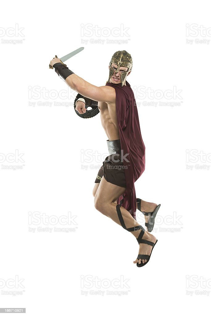 Spartan warrior in action royalty-free stock photo