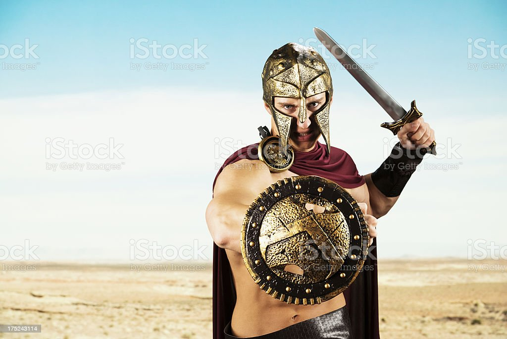 Spartan warrior ready for war stock photo