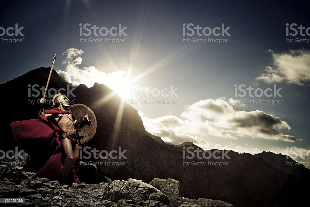 Spartan warrior ready to fight stock photo