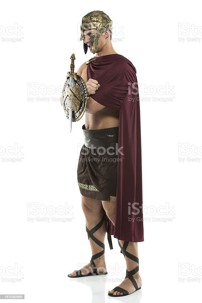 Spartan warrior standing royalty-free stock photo