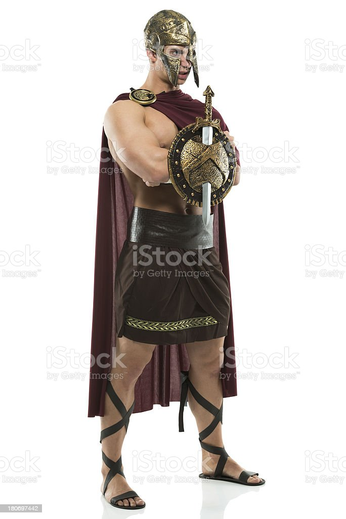 Spartan warrior with arms crossed royalty-free stock photo