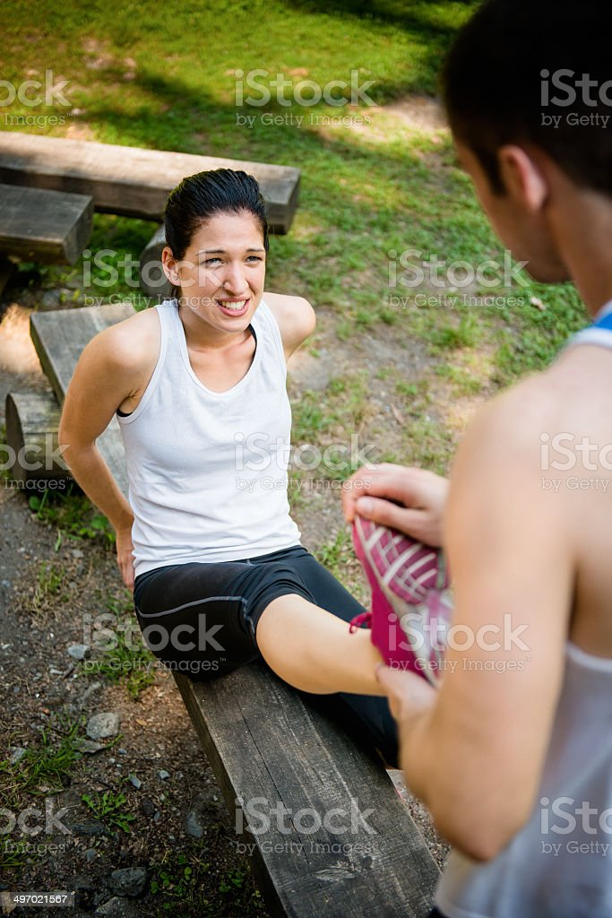 Spasm - when sport hurts royalty-free stock photo