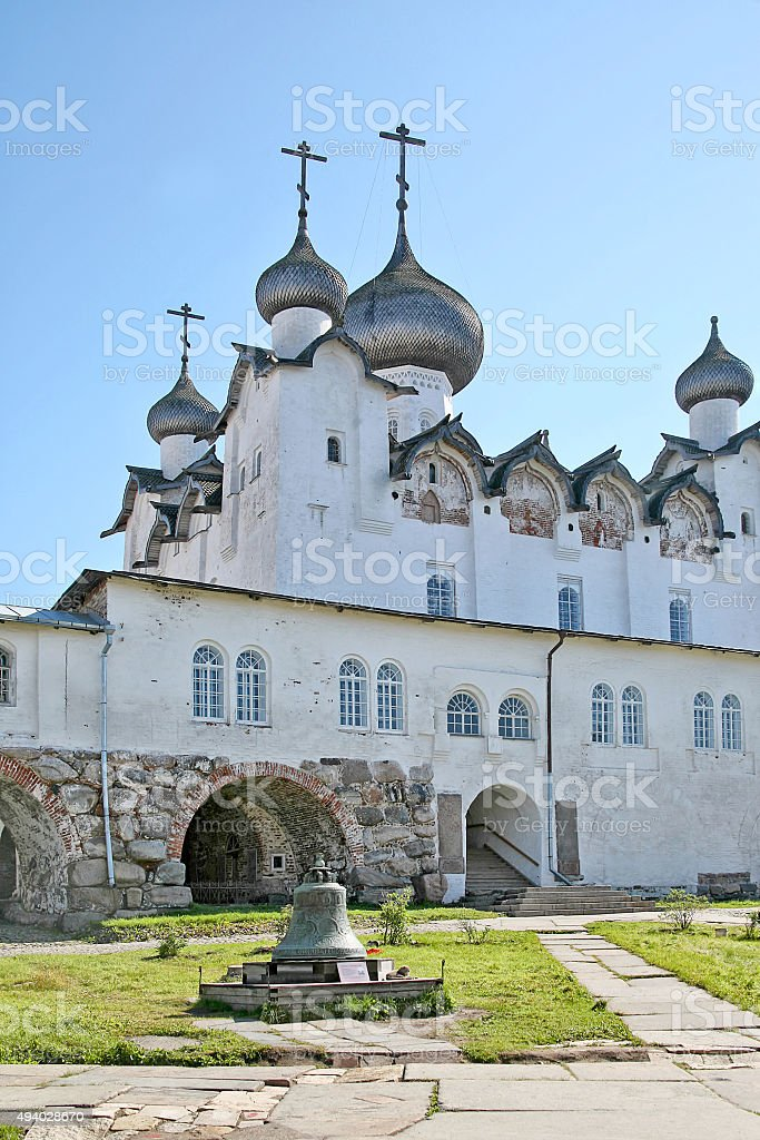 Spaso-Preobrazhensky Stauropegial monastery on Solovetsky Island stock photo