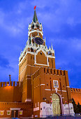 Spasskaya clock tower decorated by the red ruby star on
