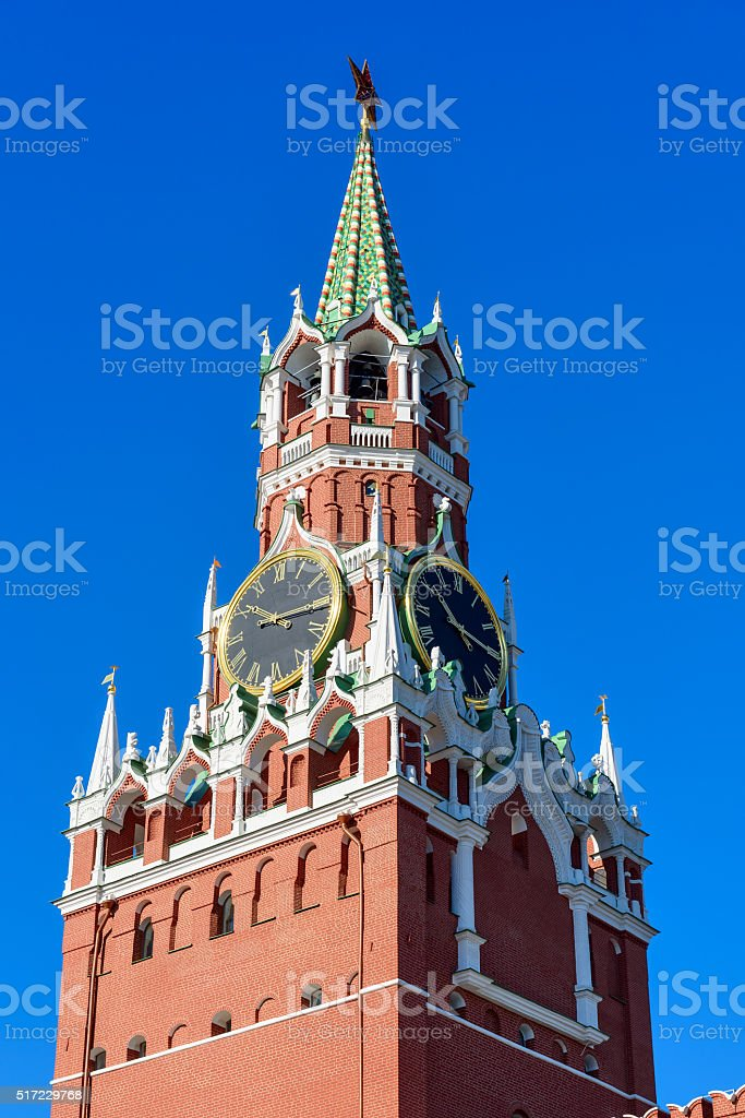 Spasskaya tower in Kremlin in Moscow, Russia stock photo