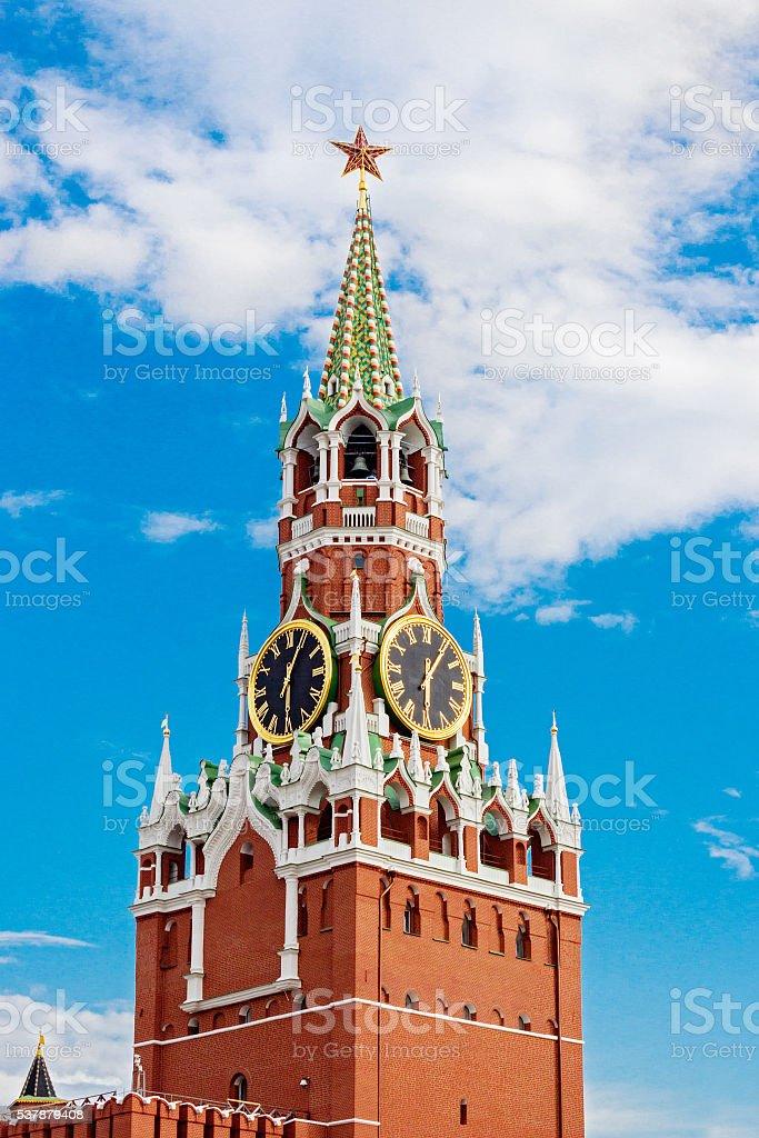 spasskaya tower in moscow kremlin stock photo