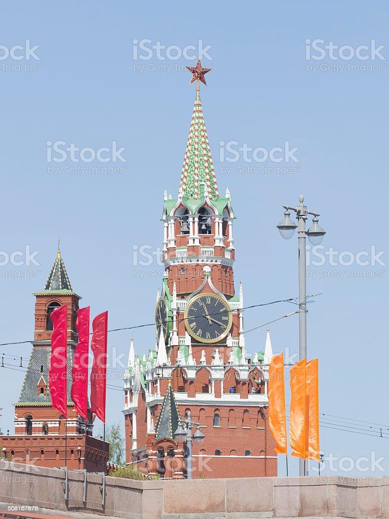 Spasskaya Tower in the Kremlin stock photo