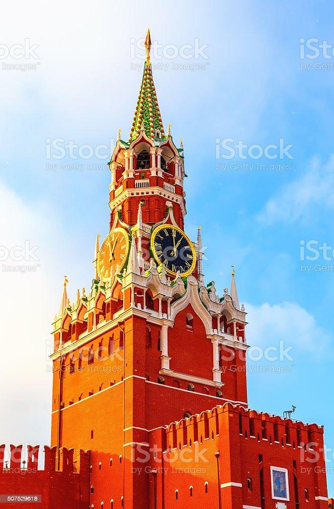 Spasskaya Tower Kremlin Moscow winter sunset stock photo