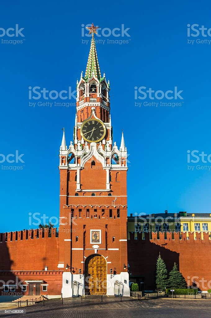 Spasskaya tower of Kremlin on Red Square in Moscow stock photo