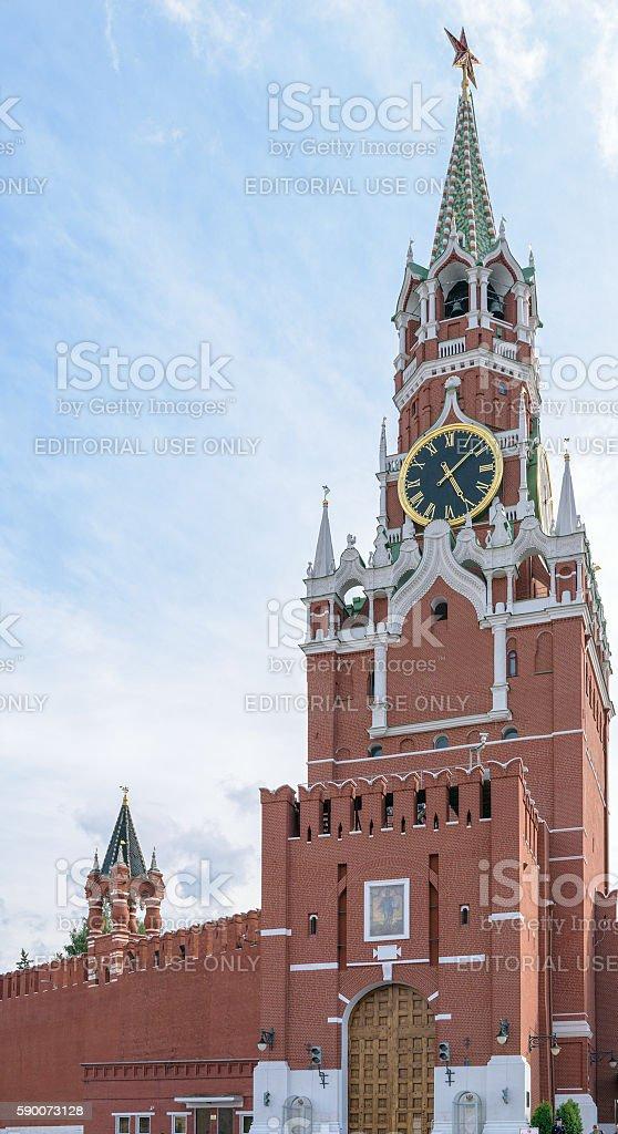 Spasskaya Tower of Kremlin wall with chimes and Borovitsky gates stock photo