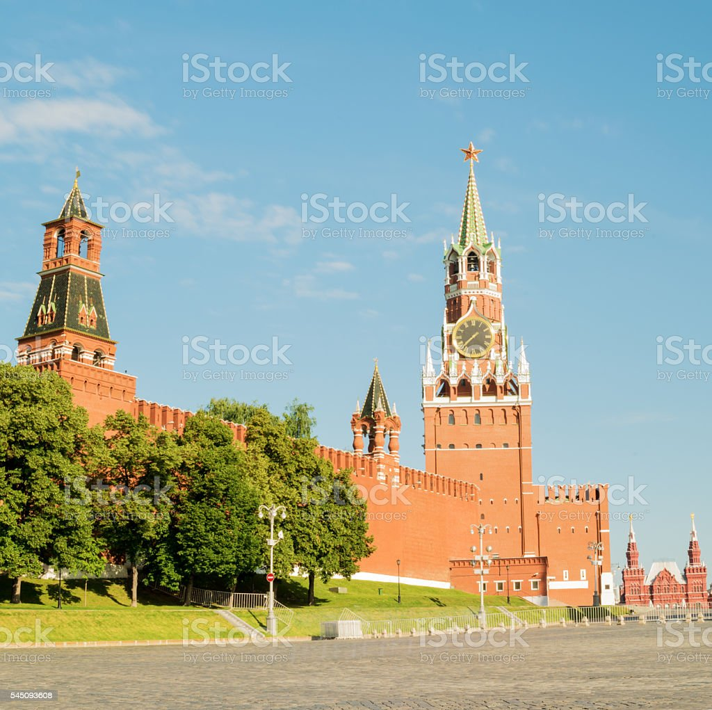 Spasskaya Tower of the Moscow Kremlin on Red Square. Russia. stock photo
