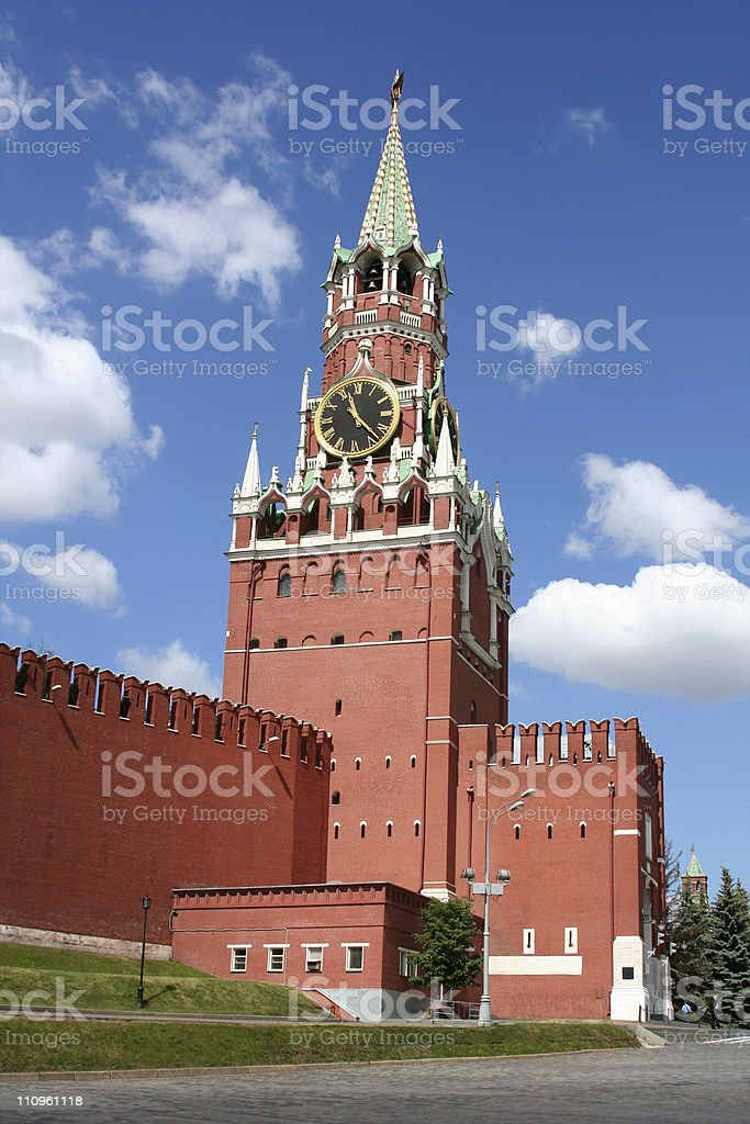 Spasskaya tower of the moscow kremlin, Russia. royalty-free stock photo