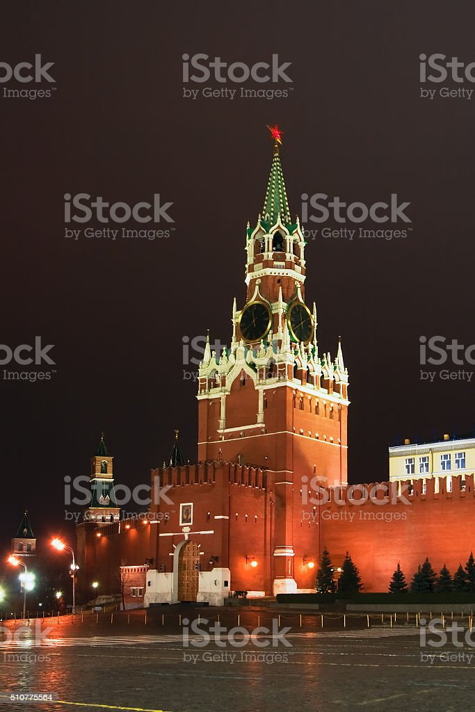 Spassky Tower of Moscow Kremlin stock photo
