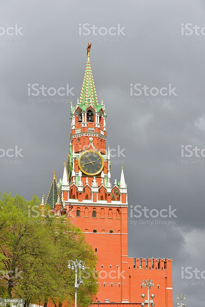 Spassky Tower of Moscow Kremlin stock photo