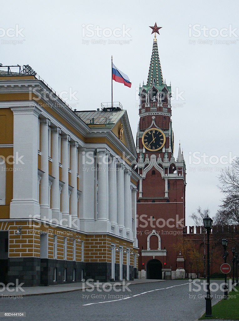 Spassky tower of the Moscow Kremlin. stock photo