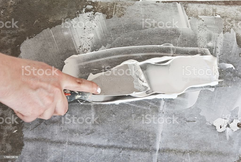 spatula with Spackling Paste stock photo