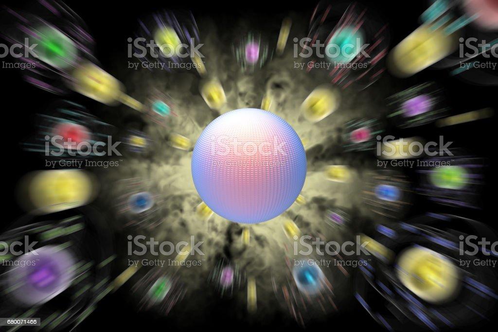 Spazio atomi pianeti sfondo nero stock photo