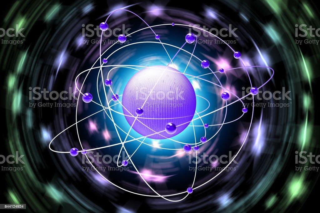 Spazio atomi pianeti sfondo nero'n stock photo