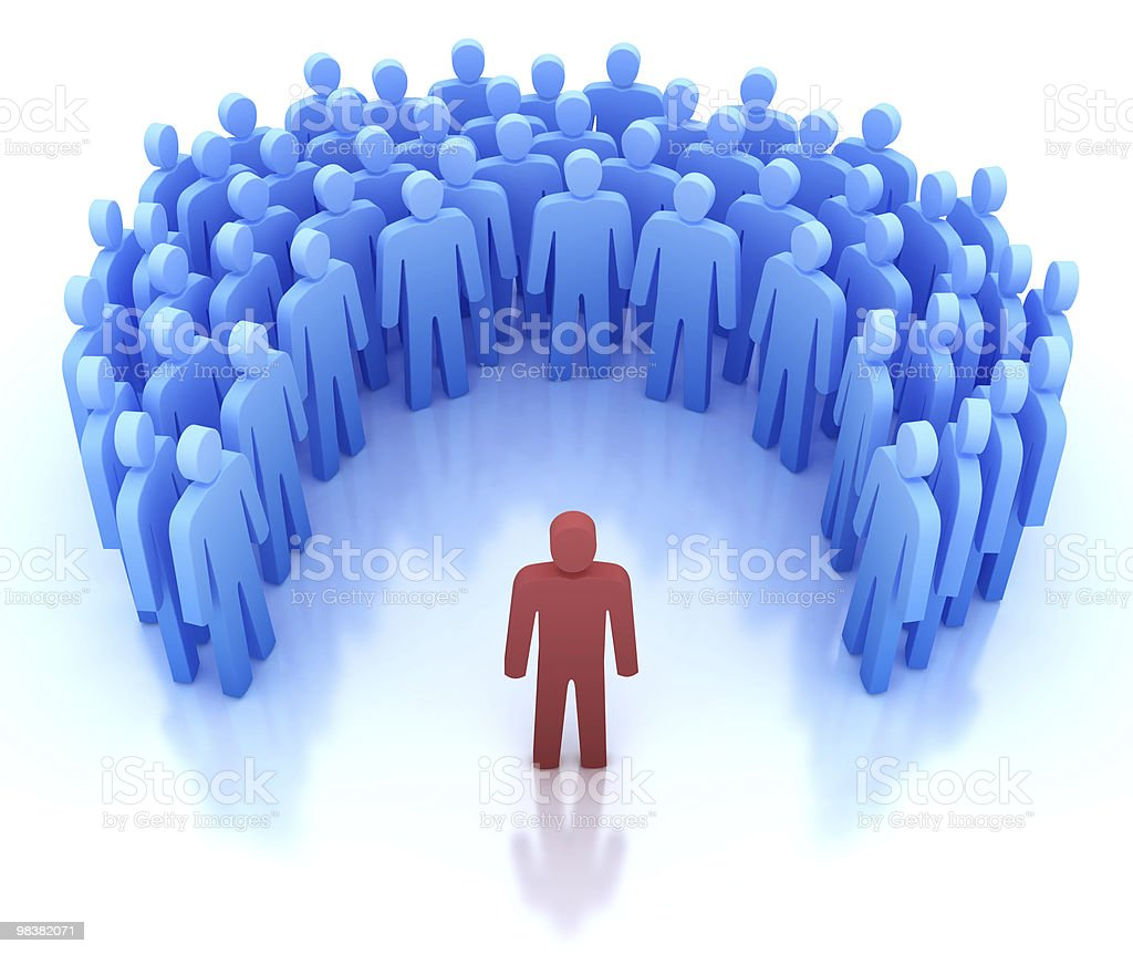 Speaker and group of people - 3D concept stock photo