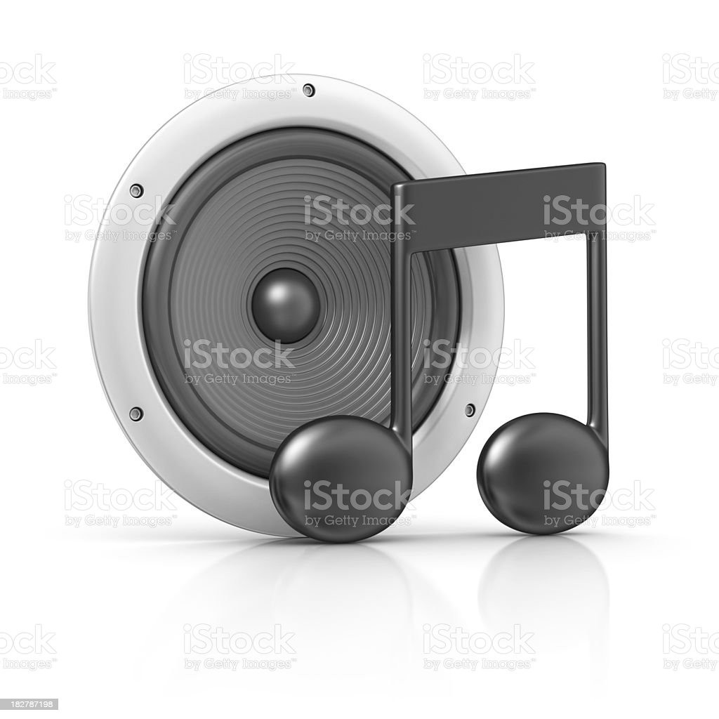 speaker and musical note stock photo