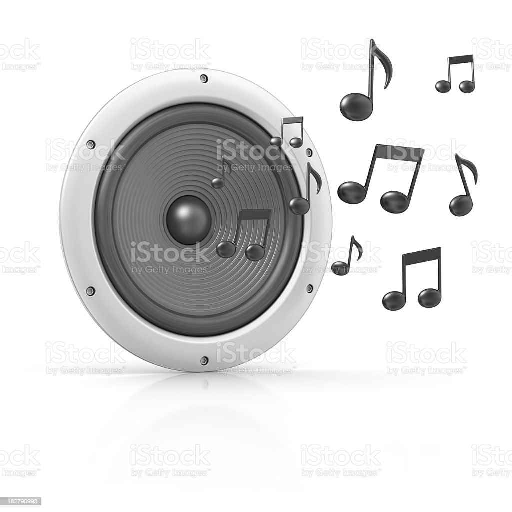 speaker and musical notes royalty-free stock photo