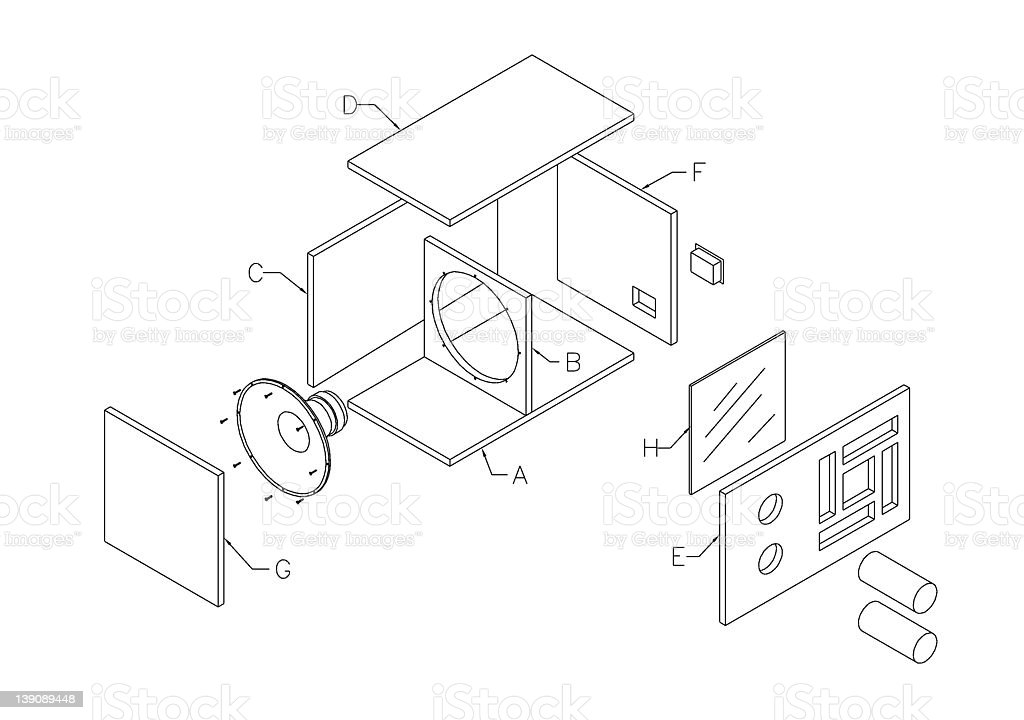 Speaker assembly drawing stock photo