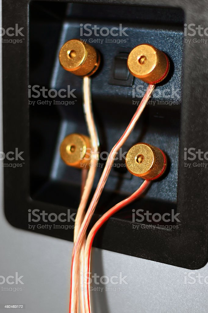 Speaker connection panel with bi-wiring stock photo