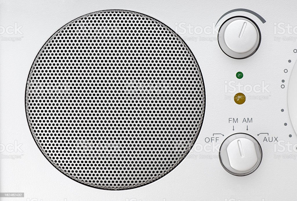 Speaker grille and knobs of a radio royalty-free stock photo