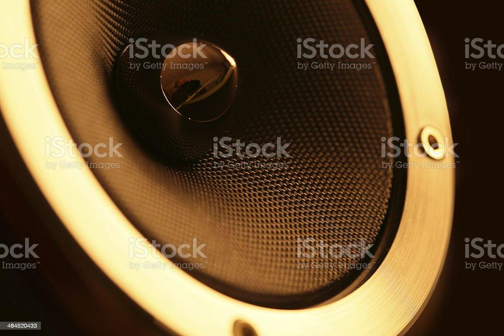 Speaker macro in warm light stock photo