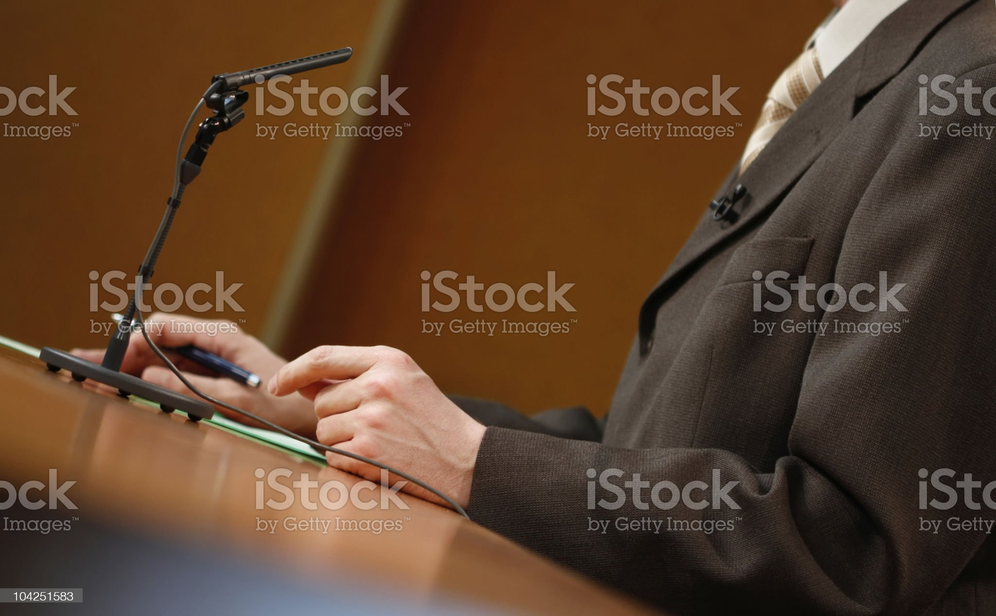 Speaker talking to the  microphone royalty-free stock photo