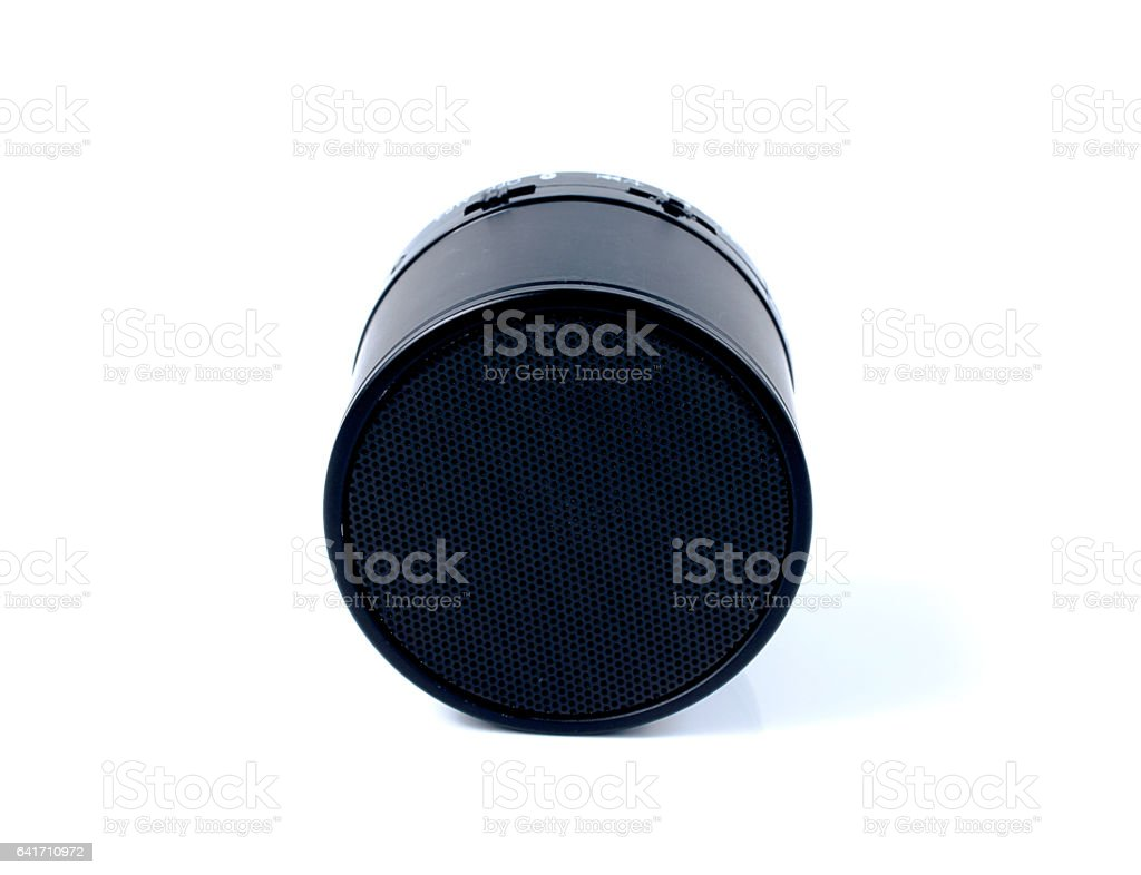 speakers electronic close up on white background stock photo