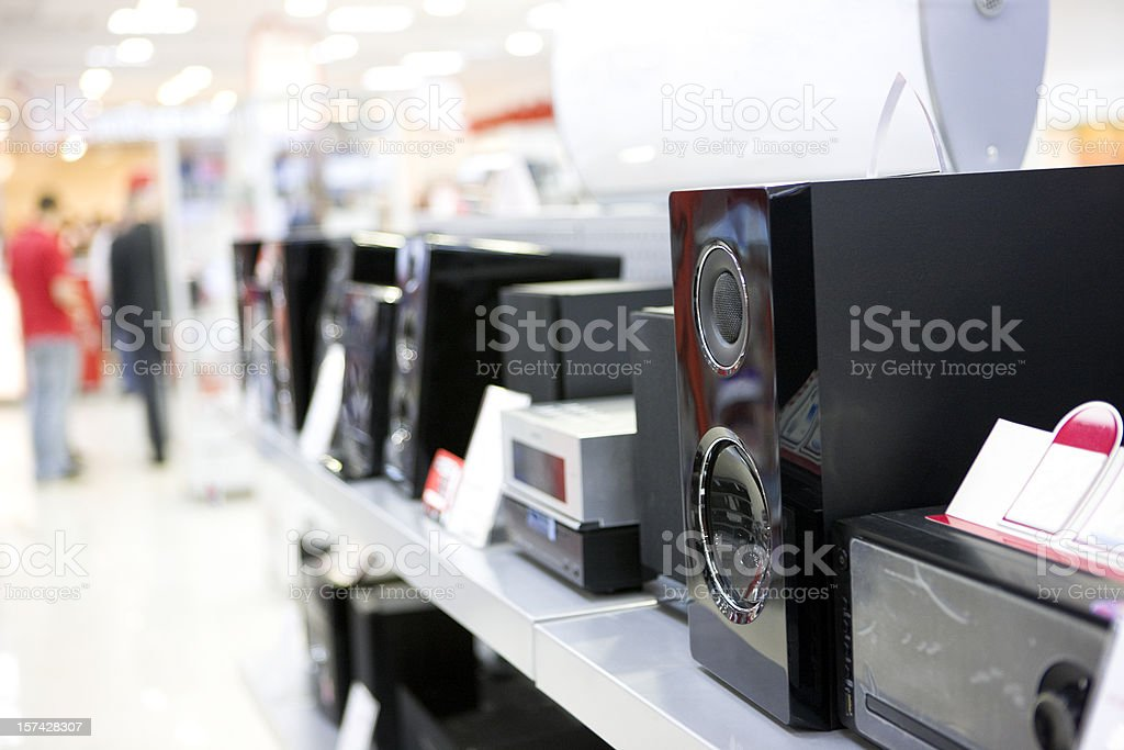 Speakers in electronics shop stock photo