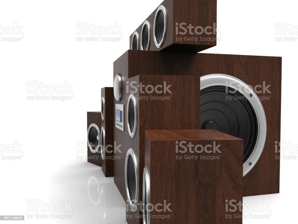 Speakers. Speakers with subwoofer. Surround system. Equalizer subwoofer. 3D rendering. stock photo