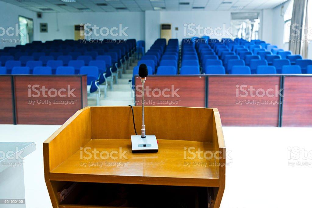 Speaker's table stock photo