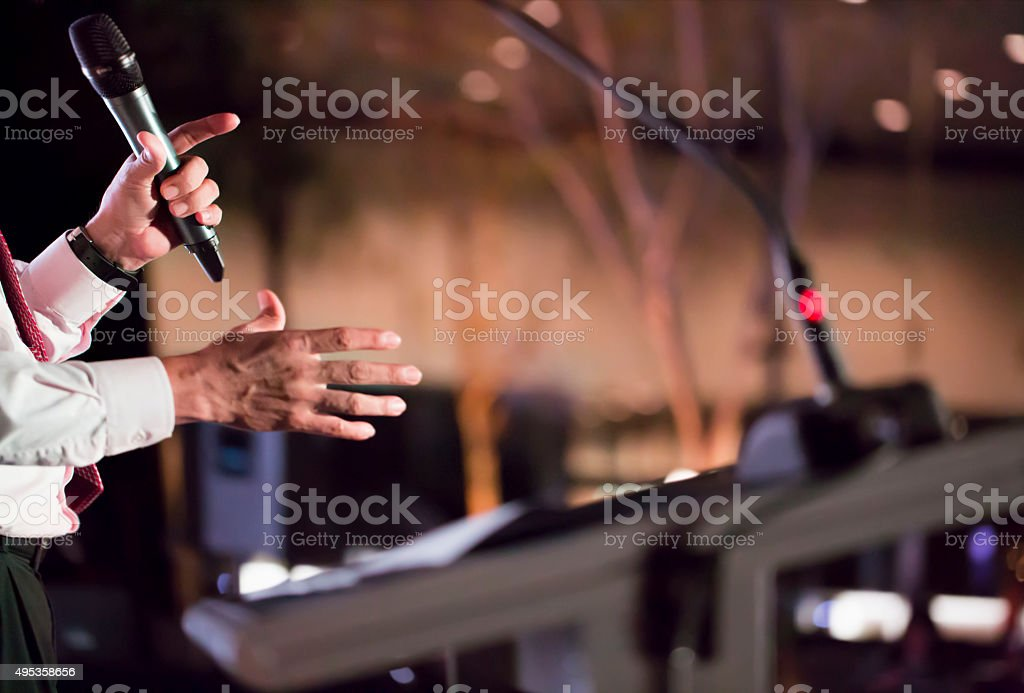 Speaking at Conference stock photo