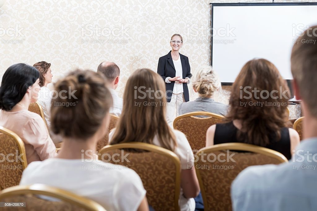 Speaking at the conference stock photo