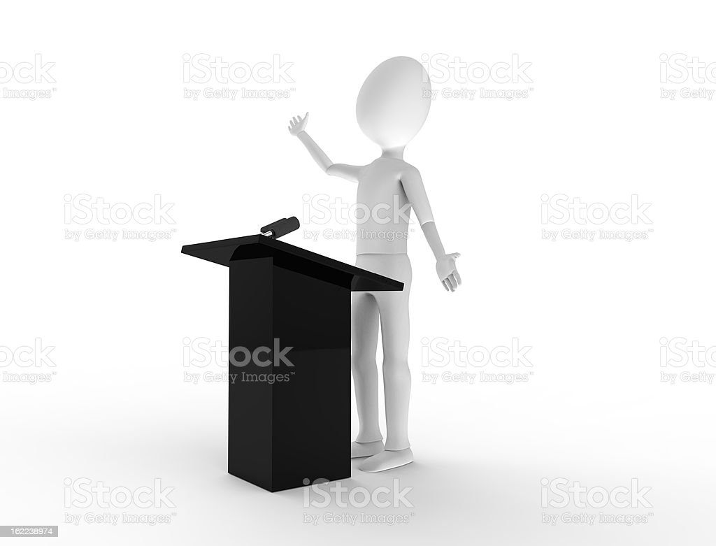 Speaking at the podium royalty-free stock photo