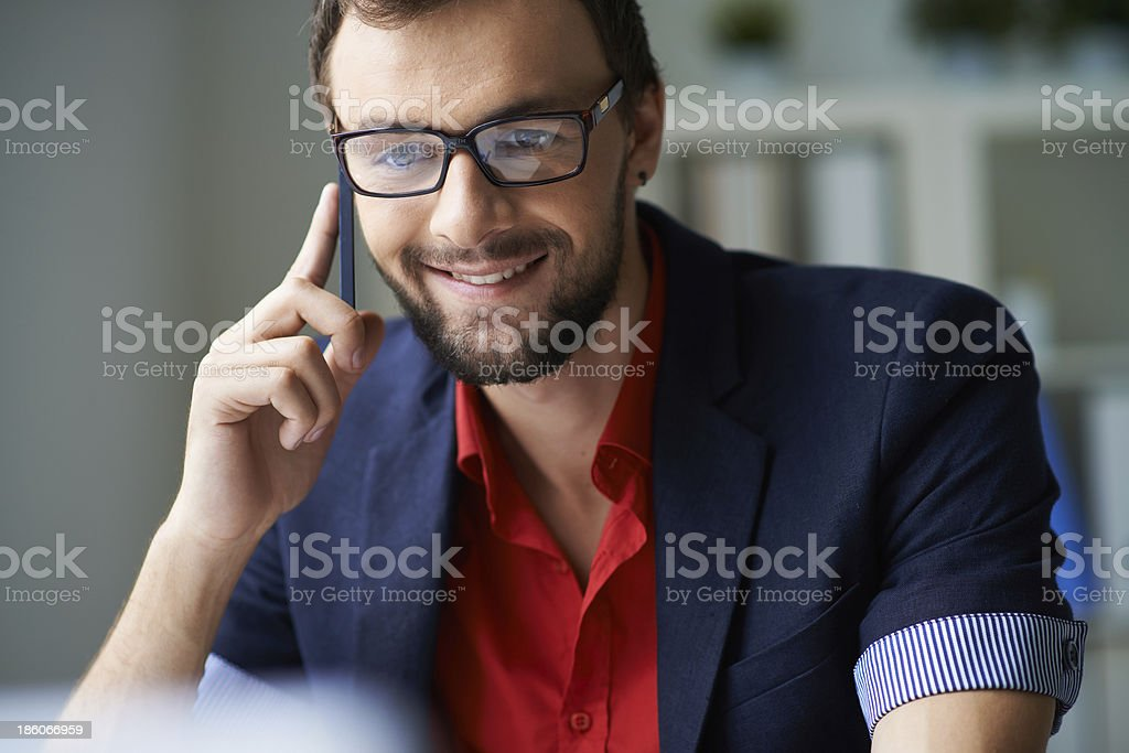 Speaking on the phone royalty-free stock photo