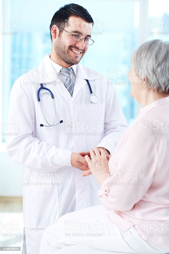 Speaking with patient stock photo