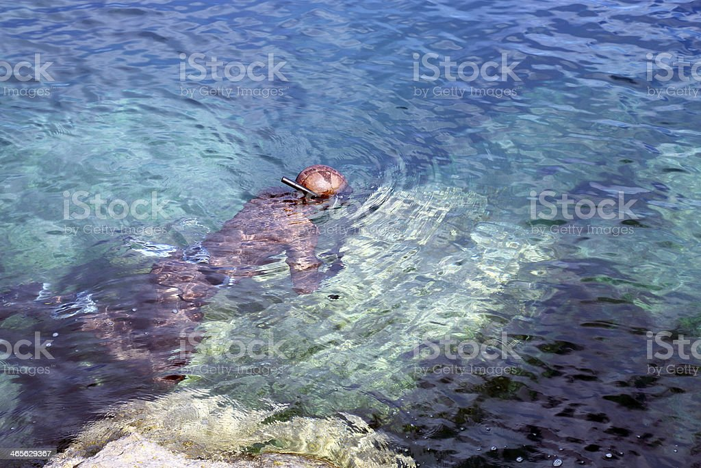 Spear Fisherman in action stock photo