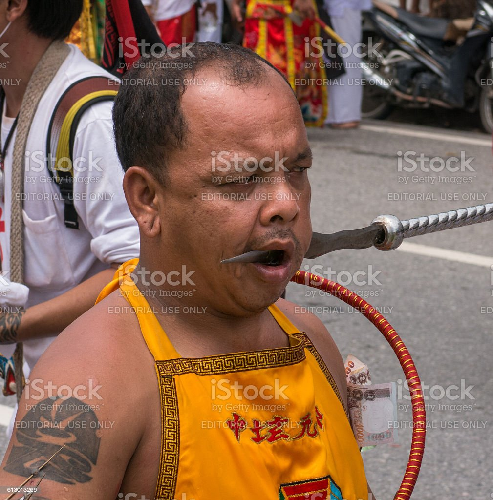 Speared Face Man Vegetarian Festival Krabi Thailand stock photo