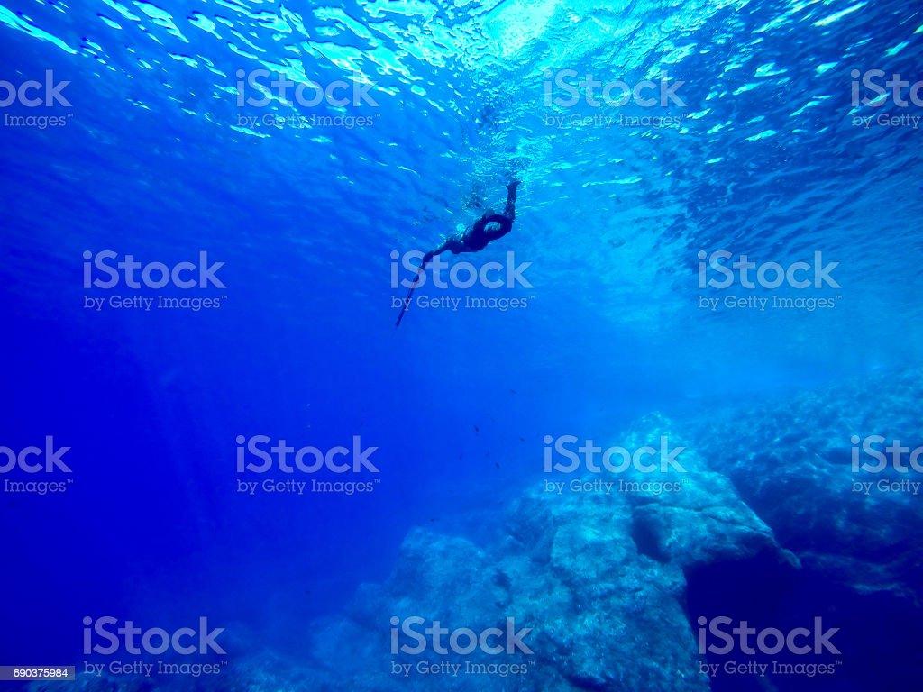 spearfishing ijn the blue sea water stock photo