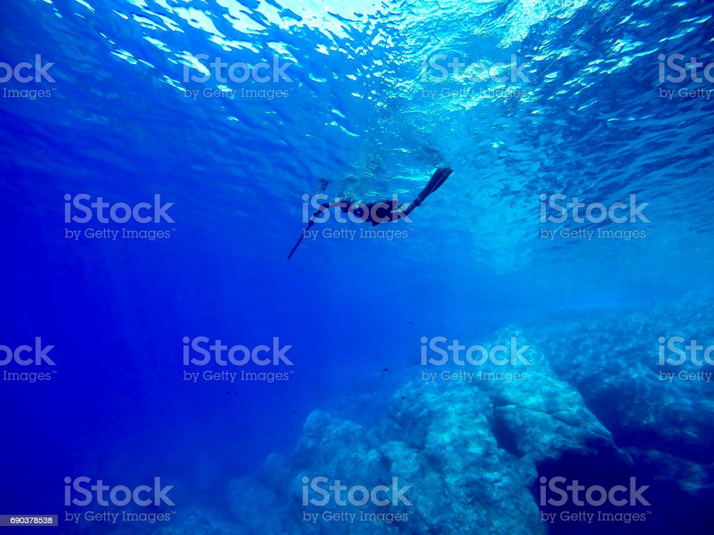spearfishing in the blue sea water stock photo