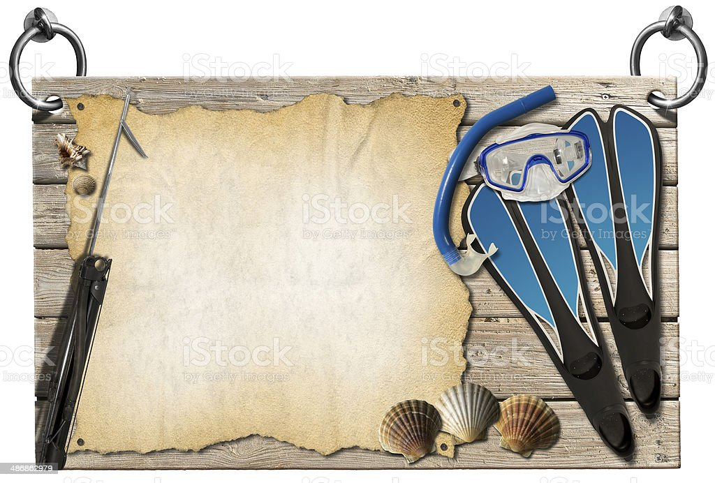 Spearfishing - Wooden Signboard stock photo