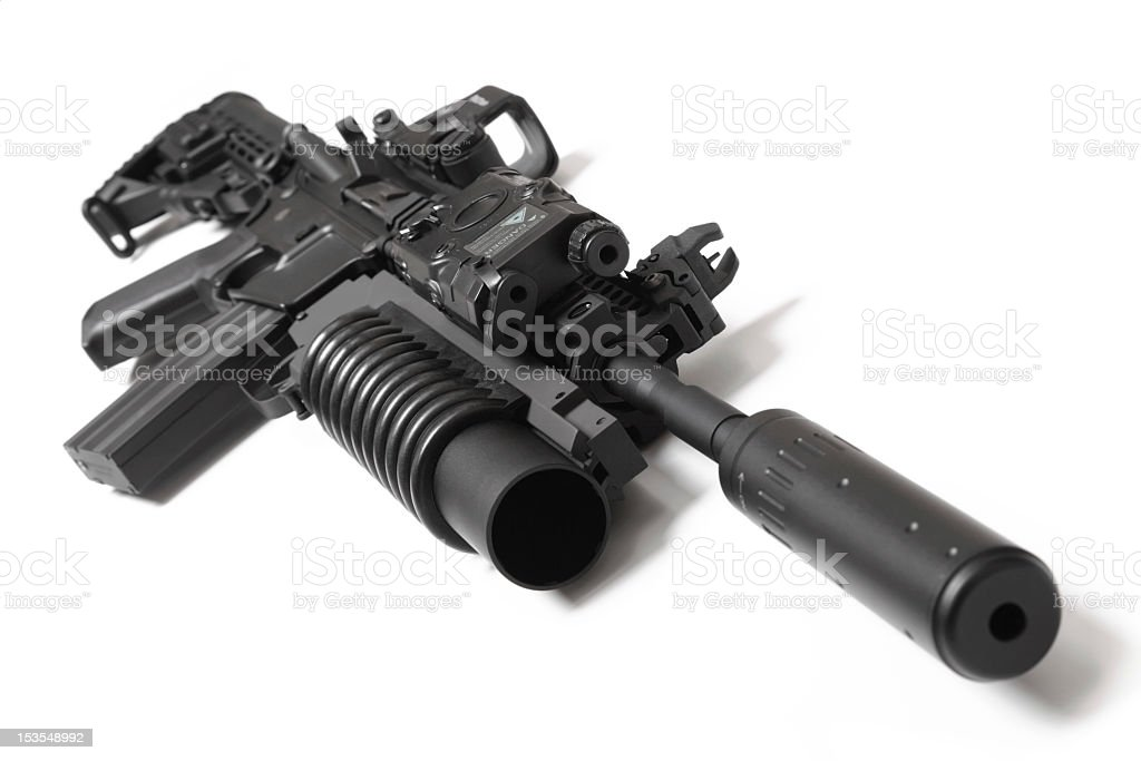 US Spec Ops M4A1 assault carbine with grenade launcher stock photo